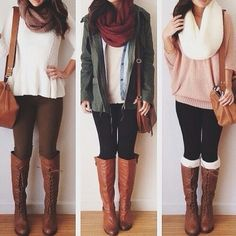 Love all of these - fashion - teen - teen fashion - outfit - teen outfit - fall - winter - fall outfit - winter outfit - fall fashion - winter fashion - teen winter fashion - teen fall fashion - Look Fashion, Fashion Outfits, Womens Fashion, Scarf Outfits, Fashion Fall, Fashion Boots, Outfits 2014, Boot Outfits, Fashion 2015