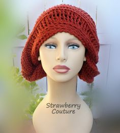 Unusual Gifts Unique Gift for Women Crochet Beanie Women Crochet Hat Womens Hat Terra Cotta Hat LUNCH LADY Beanie Hat by strawberrycouture by #strawberrycouture on #Etsy