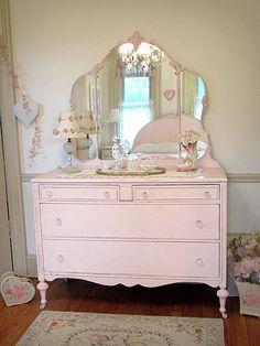 Pink Antique Dresser With Tiara Mirror Shabby Chic