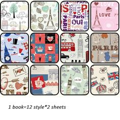 24sheets DIY Paris Romance theme gift wrapping paper creative papercraft art paper handmade scrapbooking kit set books #Affiliate