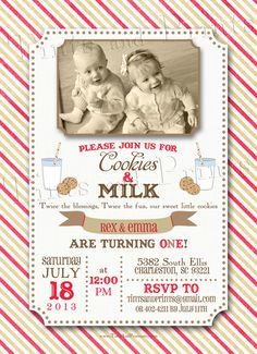 tutus and ties joint party birthday party invitation twins baby
