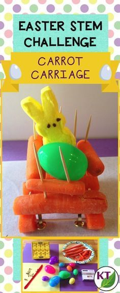 Easter-themed STEM challenge that can be modified for use with grades 2-8. Individually or in partners/groups, students will design and build a carriage to hold cargo and roll downhill made primarily of carrots.