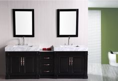 "*** I Like this one Nat. DEC101 Odyssey 90"" Double Sink Bathroom Vanity With Carrera White marble Countertop"