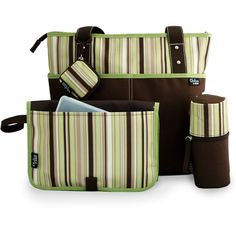 Chelsea & Main - Mommy Essentials 5-Piece Diaper Tote Set, Brown and Green Stripes  $29.00 Walmart.com