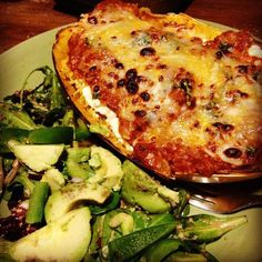 Spaghetti Squash Lasagna Bowl so easy! just spaghetti squash, tomato sauce, cottage cheese and parmesan