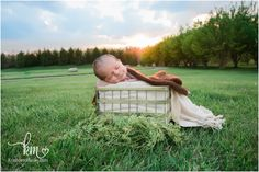 outdoor newborn picture - baby in a basket at sunset