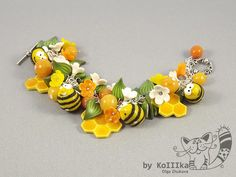Mini Save the bees polymer clay brooche