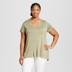 Women's Plus Size V-Neck Drapey Tee Olive 1X - Mossimo Supply Co., Tanglewood Green