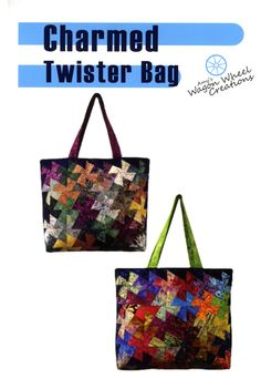 Charmed Twister Bag By Reitzel, Amy - Nice roomy tote bag made using the Lil' Twister tool. Great for all your quilting projects or a carry-on bag. Finished dimensions 15in x 17in x 5in.