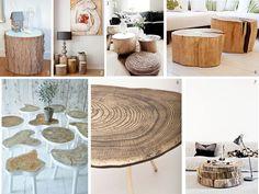Mesita auxiliar hechas con madera natural