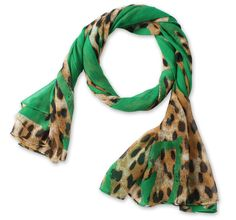 Corciova®  Long Leopard-printed Cotton Linen Scarf Shawl Green