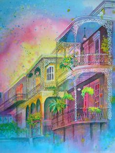 New Orleans French Quarter Lake Charles Louisiana, Louisiana Art, New Orleans Louisiana, Lace Painting, Watercolor Painting, Watercolors, Louisiana Crawfish Festival, New Orleans Art, New Orleans French Quarter