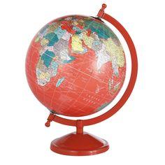SCHOOL globe in red H 29cm