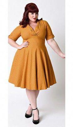 13b93b8ead0b33 Unique Vintage Plus Size 1950s Style Mustard & Black Dot Delores Swing  Dress #plussizedressesideas