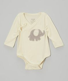 Take a look at this Natural & Mocha Elephant Wrap Bodysuit - Infant by Silkberry Baby on #zulily today!