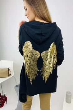 čierna dámska asymetrická mikina s krídlami Modeling, Blouse, Long Sleeve, Sleeves, Tops, Women, Fashion, Moda, Modeling Photography