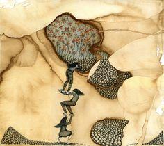 Mel Kadel - Mel Kadel works using ancient papers, tiny pens, Q-tips and glue. Ancient Paper, Edward Gorey, Art Archive, Henri Matisse, Art Boards, Art Lessons, Printmaking, Crochet Necklace, Ink