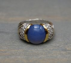 David Yurman Blue Chalcedony Cable Ring, 18k and Sterling, Diamonds - Vintage by MintAndMade