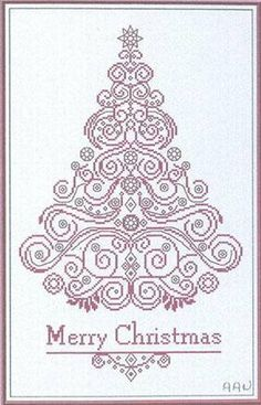 """""""Merry Christmas"""" is the title of this cross stitch pattern fromAlessandra Adelaide Needleworks that is stitched with Gentle Art Sampler thread (Cherry Wine) or color of your choice. The pattern is also stitched on your fabric choice as well to creat this beautiful Christmas tree."""