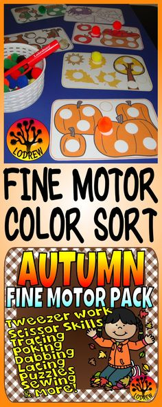 127 pages of fall centers focusing on fine motor skills. Activities include tweezer work, scissor skills, tracing, punching, clipping, sorting, art, occupational therapy, one to one correspondence, beginning sounds, counting, manipulating dough, no prep, ot, lacing, pencil control, grip, arts and crafts, poking, stickers, literacy, math, coloring, and more. For kindergarten, preschool, SPED, child care, homeschool, or any early childhood setting.