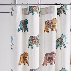 Pier 1 Imports Elephant Parade Shower Curtain (42 CAD) ❤ liked on Polyvore featuring home, bed & bath, bath, shower curtains, colorful shower curtains, pier 1 imports and cotton shower curtains