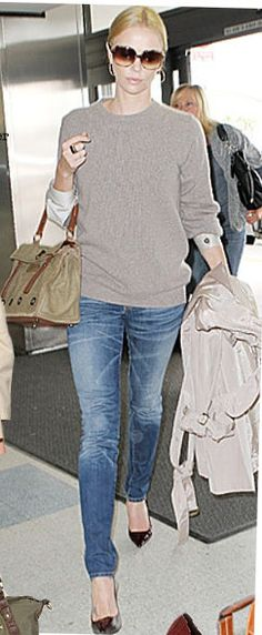 Charlize Theron airport chic
