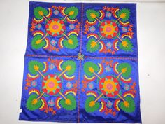 INDIAN VELVET PATCHWORK HAND EMBROIDERY TAPESTRY TABLE THROW  WALL HANGING AX1 #Handmade #ArtDecoStyle