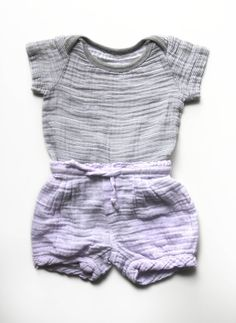 Muslin+cotton+outfit+lavender+shorts+and+grey+by+LayeredCake,+$40.00