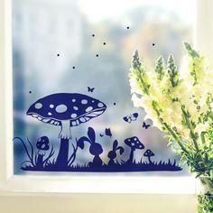 Wandtattoos - Fensterbild Fensterdeko Wiese Häschen Pilz M2108 - ein Designerstück von IlkaParey bei DaWanda