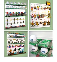 BRICK RACK is a unique and versatile way to display for collection of spoons, shot glasses, glass figures, golf balls, sea shells, Hot Wheels.....almost any small curio or collectible Display Panel, Glass Figurines, Shot Glasses, Lego Brick, Golf Ball, Spoons, Hot Wheels, Sea Shells, Balls