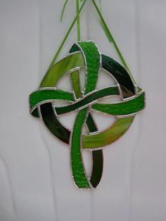 Stained Glass Celtic Knot Cross-Handmade-Suncatcher-Wedding Stain Glass Cross, Green Ribbon, Christening Gifts, Pretty Green, Sun Catcher, Celtic Knot, Plastic Canvas, Plant Hanger, Stained Glass