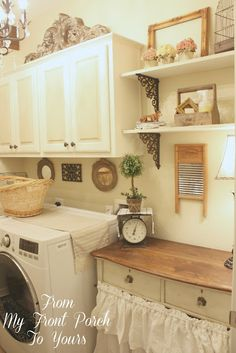 From My Front Porch To Yours: $100 Laundry Room Makeover....love the vintage look.