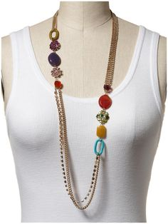Dont like the mix of beads, but i like the idea Jewel Long Necklace  by Sabine Good way to showcase some special beads.