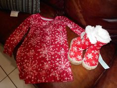 Girl's Nightgown w/ Elf on the Shelf Kids Fleece Lined Bootie Slippers! NWT! #Circo #Nightgown