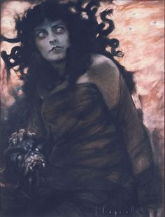Medusa by Jose Segrelles. In Greek mythology Medusa was a monster, a Gorgon, generally described as a winged human female with a hideous face and living venomous snakes in place of hair. Gazers on her face would turn to stone. Most sources describe her as the daughter of Phorcys and Ceto,though the author Hyginus (Fabulae Preface) makes Medusa the daughter of Gorgon and Ceto.