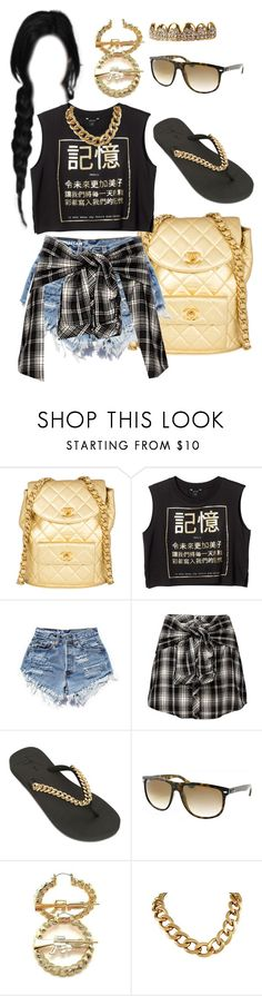 """Gold Errythang"" by catundra ❤ liked on Polyvore featuring Chanel, Monki, Ravel, Giuseppe Zanotti, Ray-Ban, Summer, gold, RATCHET and Ghetto"
