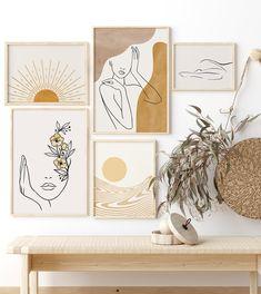 Wall Art Sets, Wall Art Decor, Easy Wall Art, Printable Wall Art, Free Printable, Boho Decor, Line Art, Instant Access, Mid Century