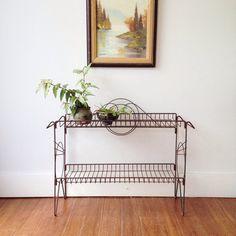 Vintage Mid Century Wire Shelf Unit- atomic ,plant stand, shelves , rack , hairpin legs