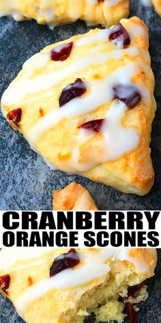 CRANBERRY ORANGE SCONES RECIPE- Quick and easy cranberry scones with orange glaze, homemade with simple ingredients. Light, moist, slightly crumbly with sweet and tart flavor. Loaded with dried. Kitchen Recipes, Baking Recipes, Cookie Recipes, Vegan Recipes, Dessert Simple, Brunch Recipes, Breakfast Recipes, Recipes Dinner, Breads
