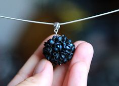 Black roses pendant Polymer clay pendant Gift for women Floral jewelry Black Handmade necklace pendant with chain Sphere Ball
