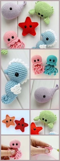 Crochet patterns step by step crochet toys amigurumi crochettoys .Crochet patterns step by step crochet toys amigurumi crochettoys handmade tutorial diy croch - knitting ideCrochet Collection Toys / Unique Gift for girlfriend / Crochet Diy, Crochet Crafts, Crochet Dolls, Yarn Crafts, Crochet Baby Toys, Crochet Whale, Crocheted Toys, Crochet Ideas, Crochet Stars