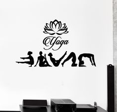 Vinyl Wall Decal Yoga Studio Poses Lotus Hinduism Stickers Mural (ig4638)