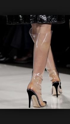 Image detail for -FILE - This Feb. 2013 file photo shows a model wearing clear boots as she walks the runway during the Ralph Rucci Fall 2013 fashion show during Fashion. Fashion Fail, Fashion Week, Fashion Shoes, Women's Fashion, Funky Shoes, Kinds Of Shoes, Best Dressed Award, Hooker Heels, Clear Shoes