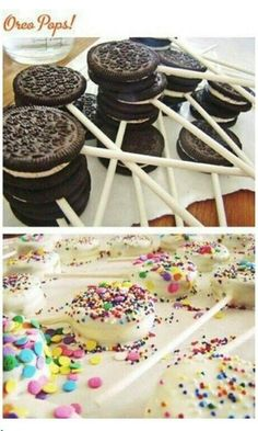 Oreo pops, brownie pops and marshmallow pops. Oreo pops, brownie pops and marshmallow pops. Oreo pops, brownie pops and marshmallow pops. Oreo Pops, Brownie Pops, Yummy Treats, Sweet Treats, Yummy Food, Oreo Treats, Yummy Yummy, Delish, Krispie Treats