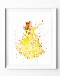 Disney Princess Belle Art Print Poster Beauty and the Beast Watercolor Painting Wall Art Home Decor Baby Nursery Kids Girl Gifts [38] #beautyandthebeast #belle #disney #princess #watercolor #painting #print #homedecor #kids #nursery #girls #babyroom #wallart #gifts