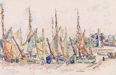 Paul Signac - La Rochelle  c. 1911Watercolor and charcoal on laid paper ~Barnes Foundation, PA