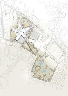 architecture floor plan with contour lines _ New City School, Frederikshavn / Arkitema Architects