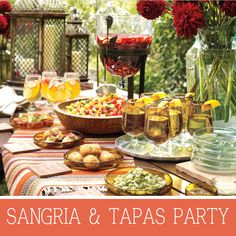 Fiesta - Sangria and Tapas.Spanish tapas can range from bite-size finger foods to skewered delights. Paella Party, Tapas Party, Tapas Dinner, Sangria Party, Sangria Wedding, Summer Sangria, Brunch, Buffet Chic, Deco Buffet