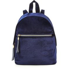 V By Very Velvet Mini Backpack (242.520 IDR) ❤ liked on Polyvore featuring bags, backpacks, mini backpack, zipper bag, sport backpack, miniature backpack and navy blue backpack