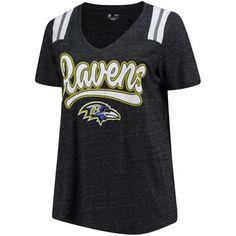 00161d81329 Women's Baltimore Ravens 5th & Ocean by New Era Heathered Black Plus  Size Tri-